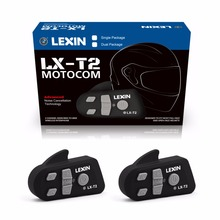 Lexin 2PCS 800M Noise Reduction Bluetooth Motorcycle Snowmobile Helmet Intercom Headset For Phone GPS MP3 Intercomunicador