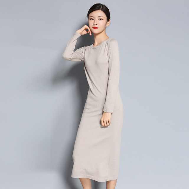 LHZSYY  2017 autumn and winter new round neck long sweater dress knit knee wool long skirt female solid color long-sleeved