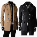 2014 New Winter & Autumn Classic Double Breasted Mens Jackets Unique Woolen Slim Outerwear Thick Coat Winter Overcoat M-XXL