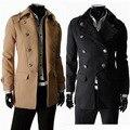 2014 Nova Winter & Autumn Classic Double Breasted Mens Jaquetas De Lã Única Fino Outerwear Grosso Casaco de Inverno Casaco M-XXL
