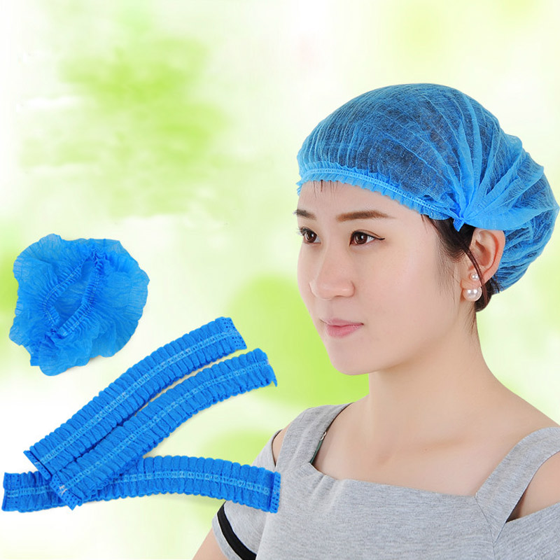 100 Pcs/lot Disposable Hat Blue Dustproof Non-woven Hat Sterile Cap For Factory Clean Room, Food Processing
