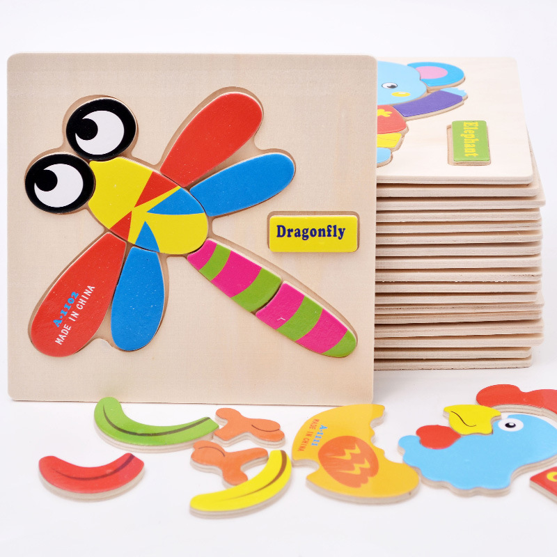 Wooden Educational Toys Games Kids Animals Puzzle for Children Gifts ute puzzles toy juguetes educativos W236