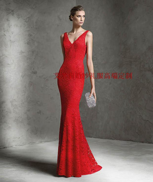 new hot sexy backless red lace mermaid Formal party prom gown 2018 vestidos floor-length long free shipping   bridesmaid     dresses