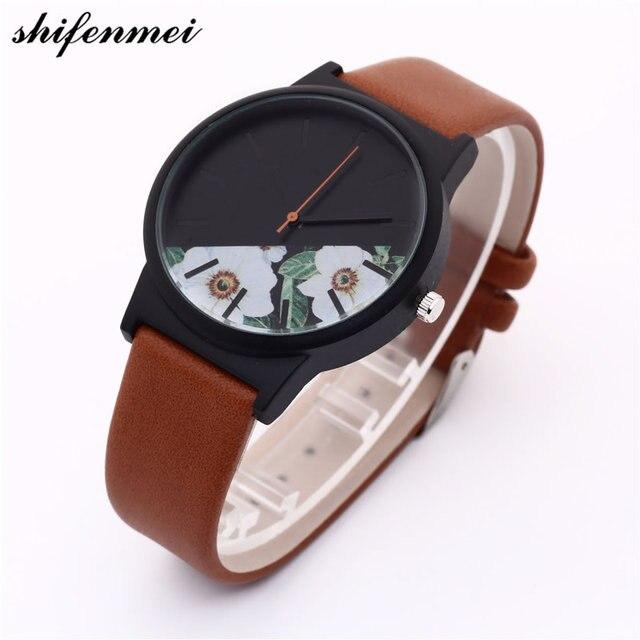 a84d80286b03 Relojes de marca mujeres arte Retro flores reloj Hombres Nuevo cuero moda  Casual mujer Relojes Sprot