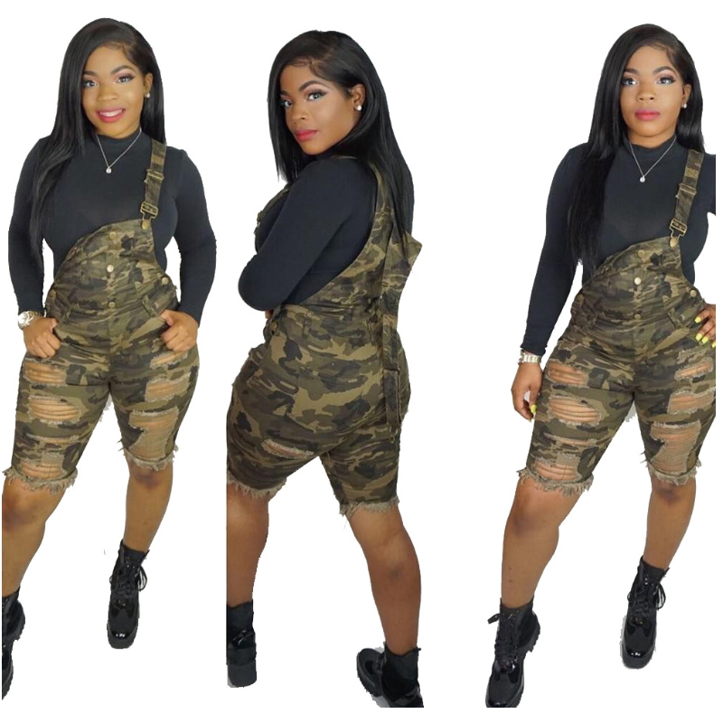 Army Green Camouflage Print Bib Overalls For Women Hole Cut Out Casual Rompers Sexy Knee Length Denim Jumpsuits Summer Suspender