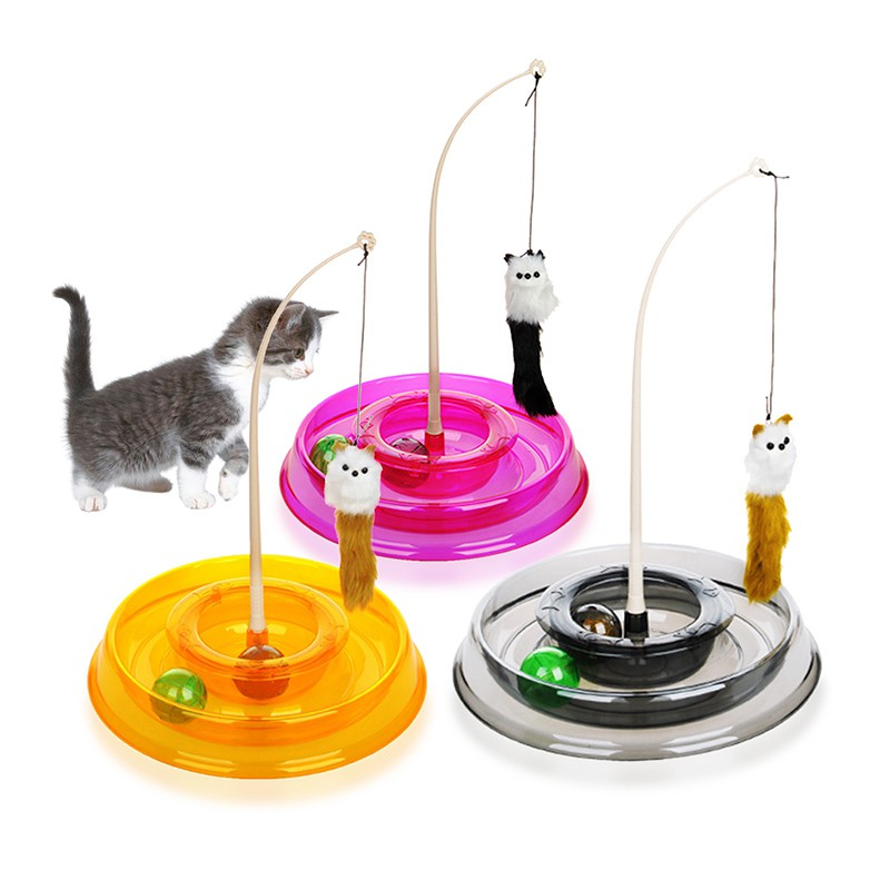 Toys For Cats Colo Colo Round Turntable Stick Interactive Cat Training Toy Games Plate Turntable ...