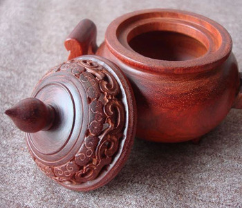 Decoración con quemador de incienso india de madera de sándalo rojo antiguo Lobular natural