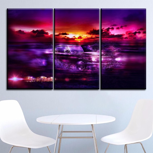 Canvas Hd Print Wall Art Painting Modern Living Room Poster 5 Pieces Fantasy In Sea Ford Mustang Car Pictures Home