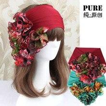Женщины женщина новый цветочный цветочный Hairband повязка на голову аксессуары волос группа широкий головные уборы аксессуары для волос