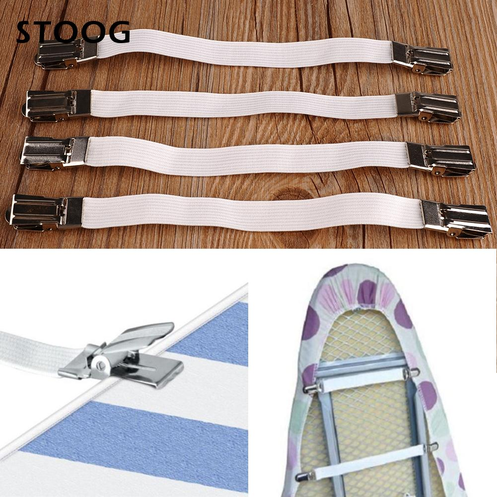 New Multipurpose 4pcs Metal Bed Sheet Fasteners Elastic Holder Clip Grippers^
