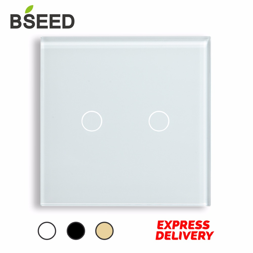 Touch Switch 2 Gang 1 Way Crystal Touch Light Switch Wall Switch by BSEED Express Delivery 5 Years Warranty, White Black Gold smart home us au wall touch switch white crystal glass panel 1 gang 1 way power light wall touch switch used for led waterproof