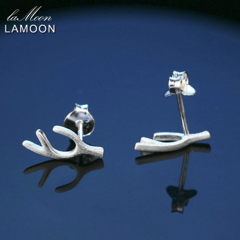 LAMOON Unique Antlers Wiredrawing Design 100% 925 Sterling Silver Earrings S925 Fine Jewelry/Jewellry For Women LMEY006