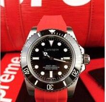 Neworignal clasp mensubwatchred rubber strap ceramic bezel 12800 sea-dweller automaticglide smooth second handself-winding watch