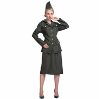 2017 New Arrival Jacket Skirt And Hat Set World War II Army Girl Halloween Cosplay Cool