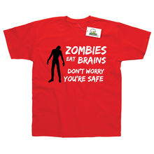 Zombies Eat Brains Don't Worry Your Safe Printed T-Shirt Top Tee 100%Cotton Humor Men Crewneck Tee Shirts eat your peas