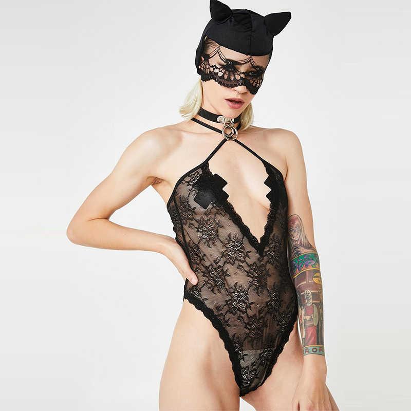 HDY Haoduoyi модный Индивидуальный простой и сексуальный глубокий v-образный вырез кружева Перспектива Тонкий цельный женский черный облегающее боди