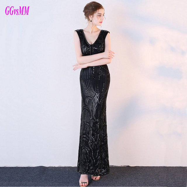 Brilliant Plus Size Black Evening Party Gowns Long Custom Made 2018 ...