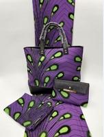 (3 шт./компл.) фиолетовый и зеленый узор Анкара Африканский Воск для печати ткань с африканскими сумка и кошелек в африканском стиле Вечерние