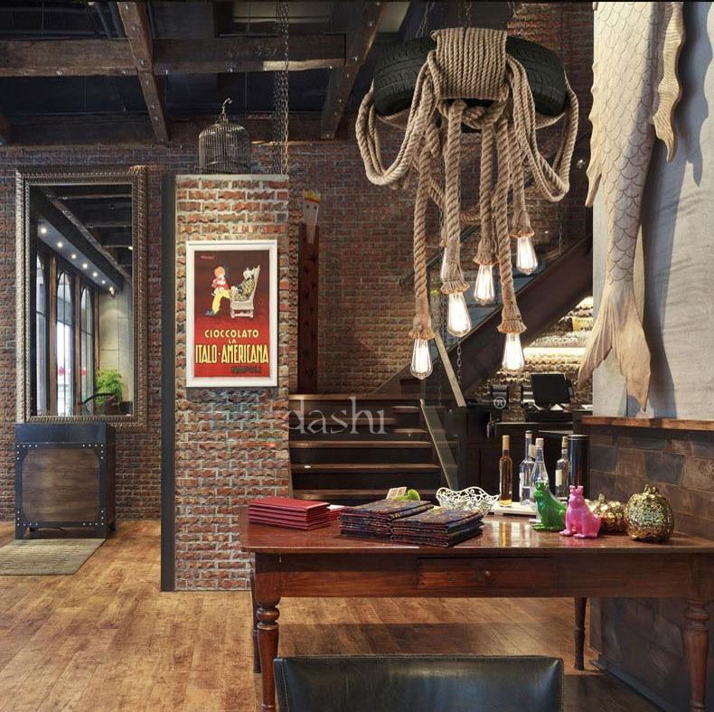 Vintage país americano cuerda de cáñamo luces colgantes lámpara colgante rueda de goma suspensión para el hogar Bar sala de estar iluminación - 2
