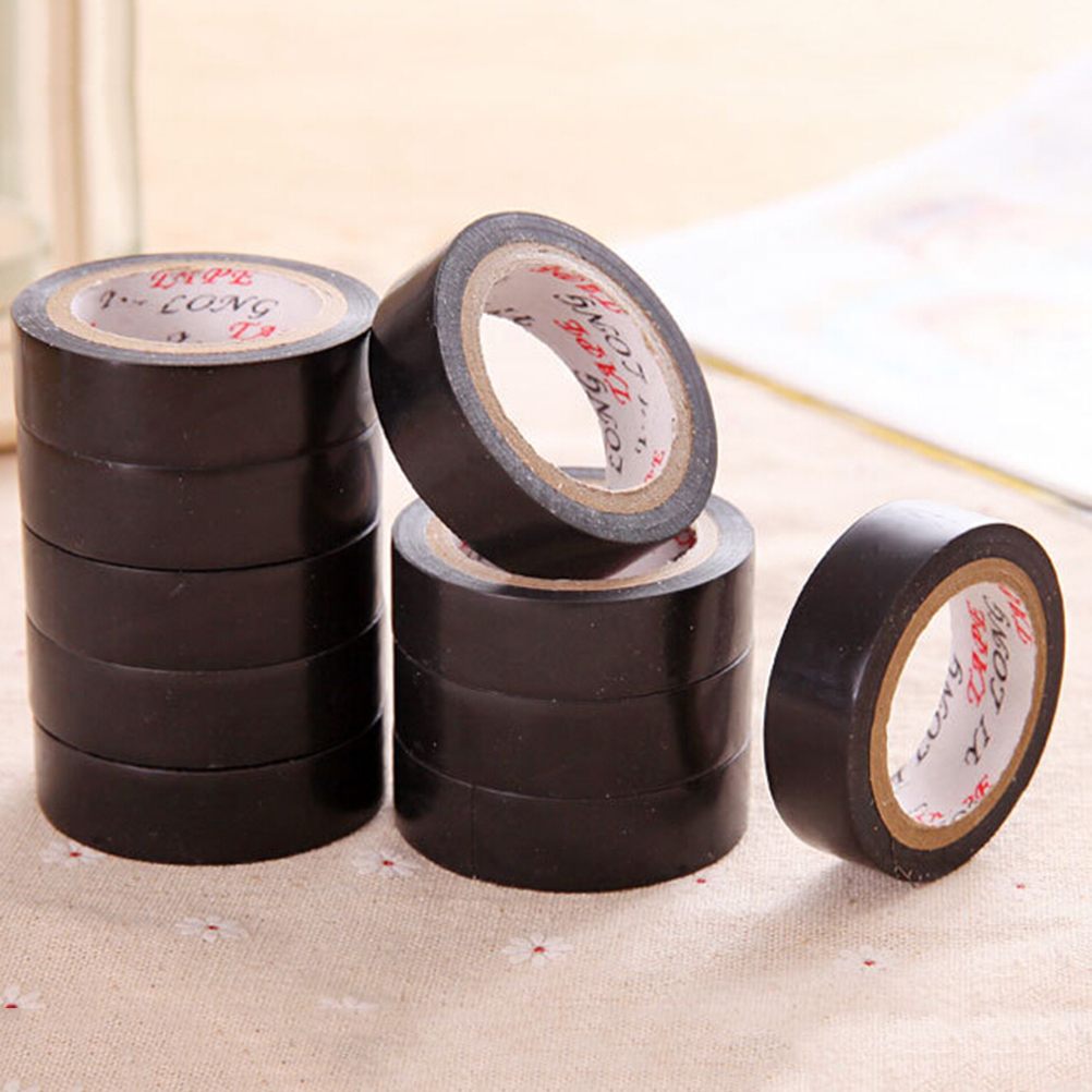 Black 10M PVC Electrical Flame Retardant Adhesive Vinyl Electrical Insulation Tape Roll Heat Resistant Power Insulating Tape