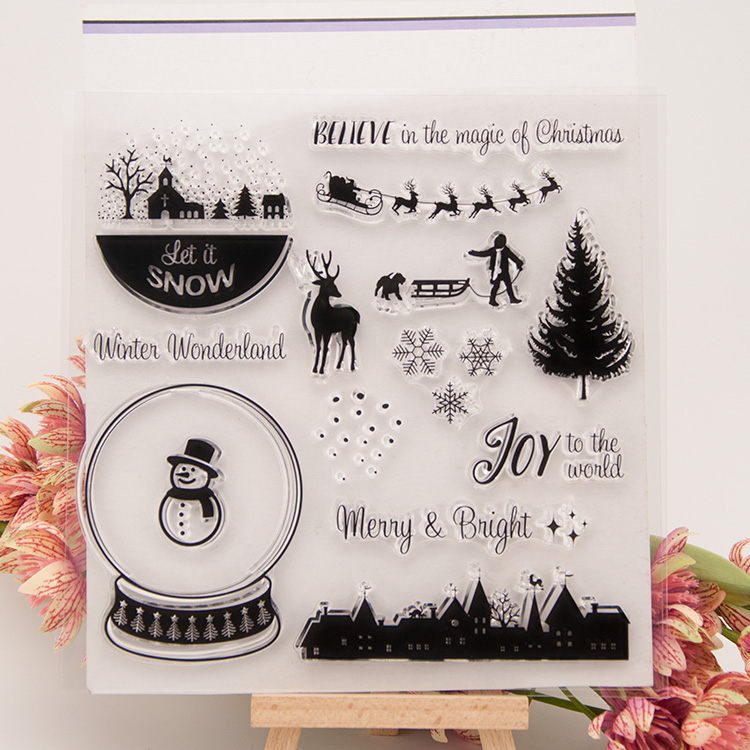 CLEAR STAMPS  DIY Scrapbook Card album paper craft silicon rubber roller transparent stamp Christmas Winter jwhcj vintage cat date wood roller stamps for children diy handmade scrapbook photo album diary book decoration students stamps