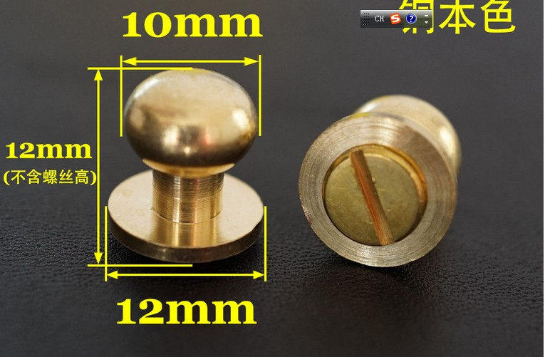 20pcs/lot High Quality 9mm Stud Screw Round Head Solid Brass Nail Leather Screw Rivet Chicago Button For DIY Leather Decoration karambit knife diy knife handle fastening rivet high strength 12 9 class round head lock screw din912 alloy steel hrc39 44
