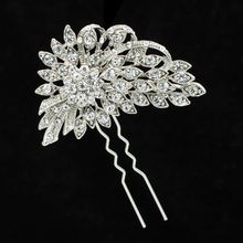 Flower Hairpins Rhinestone Crystals Hair Clips Women Plant Hair Combs Bridal Wedding Jewelry Accessories Fa5053