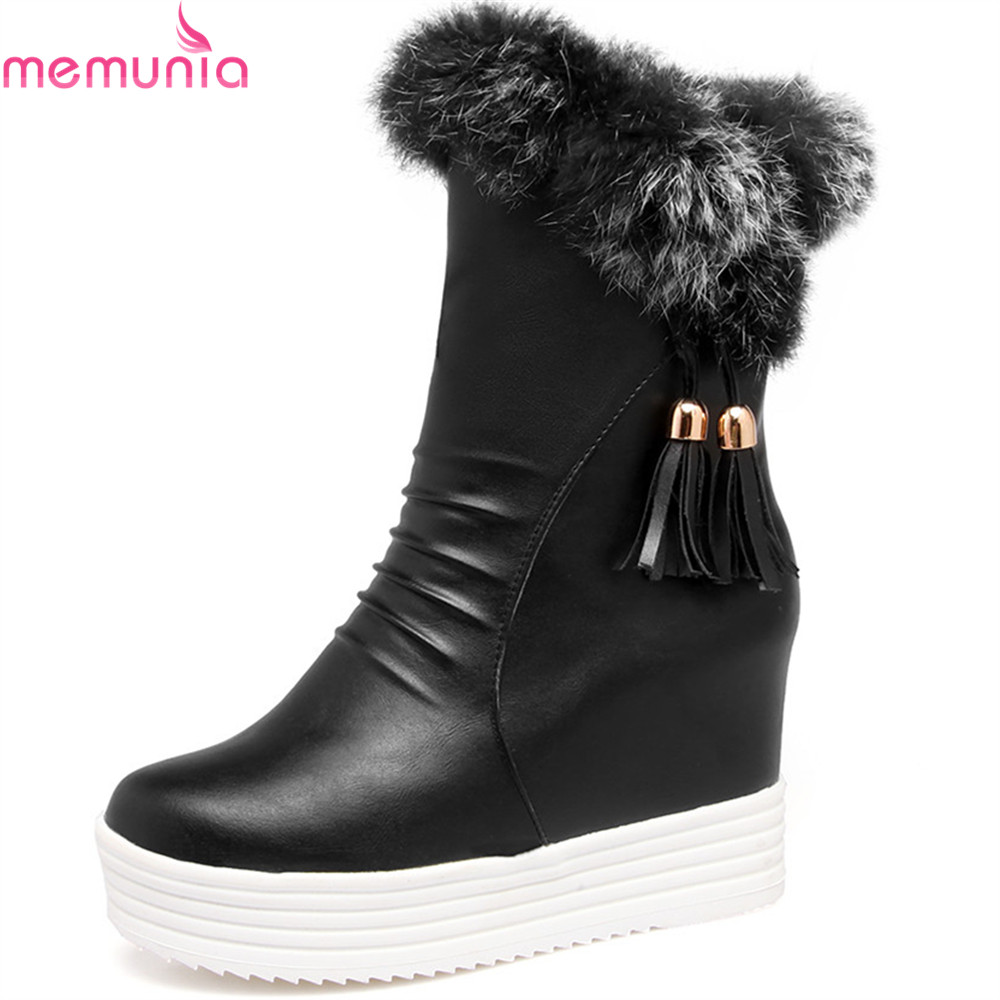 MEMUNIA fashion height increasing women boots round toe zipper ladies boots platform black pink white ankle boots autumn winter woman winter warm platform height increasing slip on snow boots fashion round toe dress calf boots black pink white