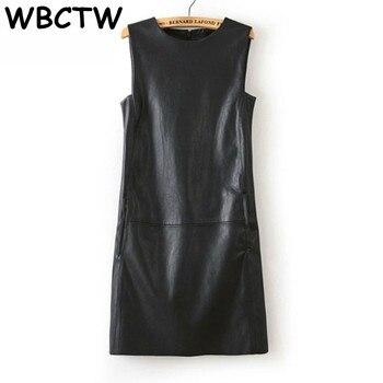 e6433217c8f5e WBCTW 3XL 4XL 5XL 6XL Plus Size Dress 2018 Autumn Summer Office Dress Women  Faux PU