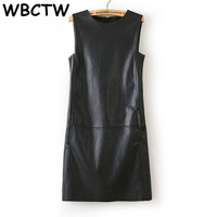 WBCTW 5XL 6XL 7XL 8XL Plus Size Dress 2019 Autumn Summer Office Dress Women Faux PU Leather Casual Sleeveless Knee Length Dress