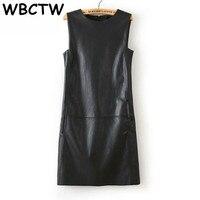 WBCTW 5XL 6XL 7XL 8XL Plus Size Dress 2019 Autumn Summer Office Dress Women Faux PU Leather Casual Sleeveless Knee Length Dress
