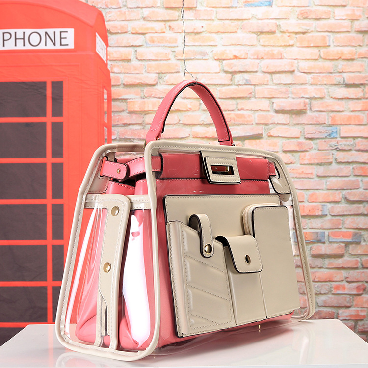 Nouvelle mode dame sacs transparents sac à main Explosion européenne et américaine Multi poche Double sac haute qualité offre spéciale Pu grand - 4