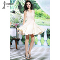 Sexy Beige Beautiful Lace Sleeveless Short Cocktail Dresses Tulle Coctail Dress for Party prom dresses vestido de festa SFY6116