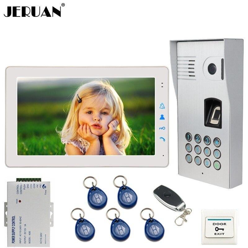 JERUAN Filaire 9 pouce Vidéo Sonnette Door Phone Intercom Système kit D'empreintes Digitales Code Clavier RFID 120 Degrés Caméra LIVRAISON GRATUITE