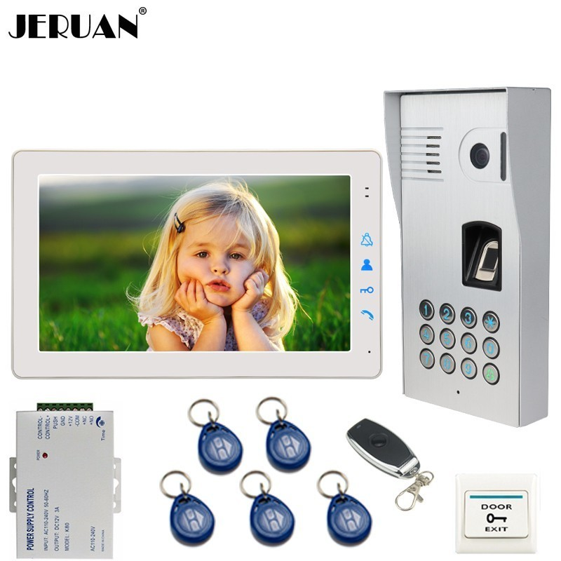 JERUAN Wired 9 Inch Video Doorbell Door Phone Intercom System kit Fingerprint Code Keypad RFID 120 Degree Camera FREE SHIPPING free shipping 120 inch 16 9 electric metallic