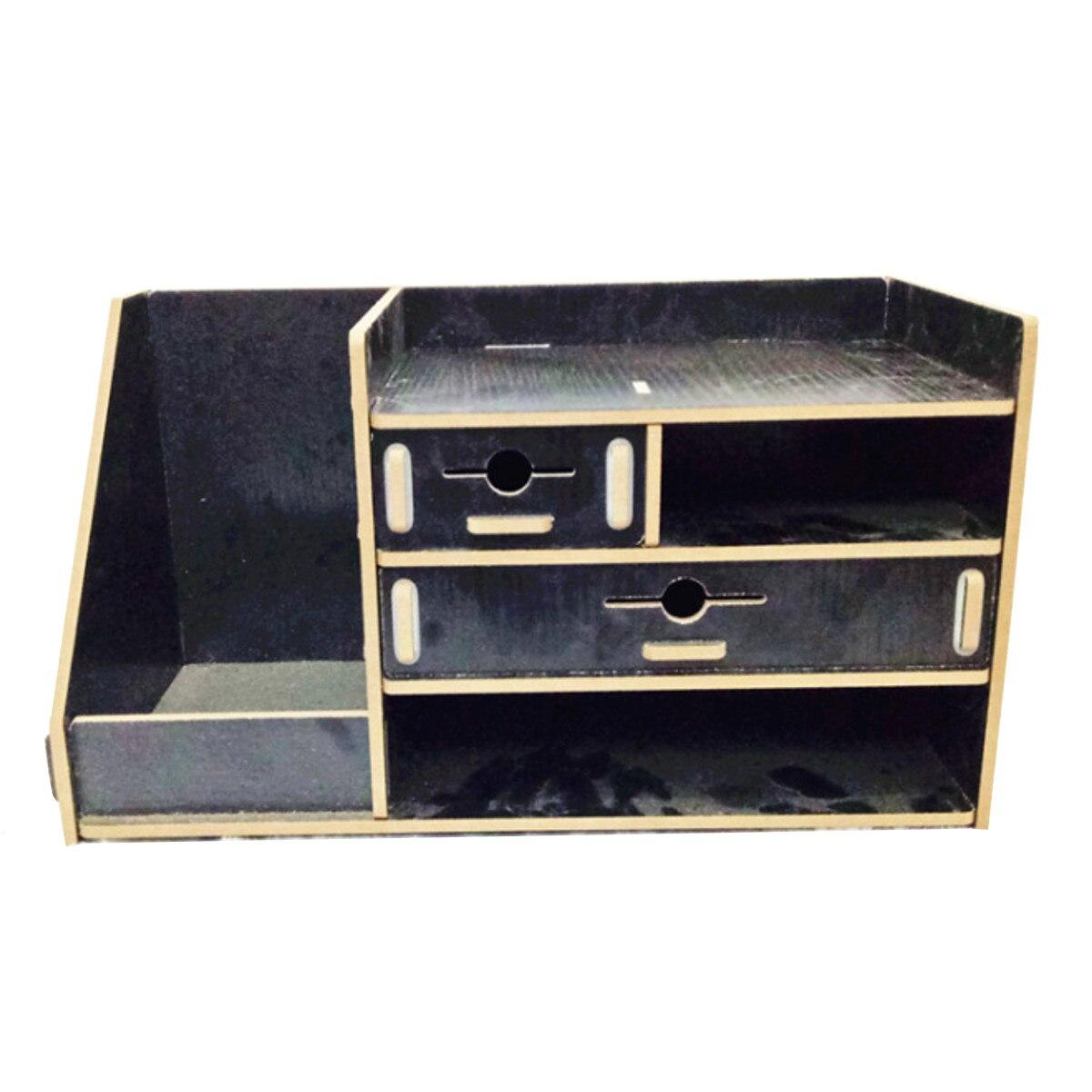 Boîte de rangement en bois bricolage avec tiroir cosmétiques organisateur bureau à domicile bureau tiroir maquillage organisateur nouveau - 5