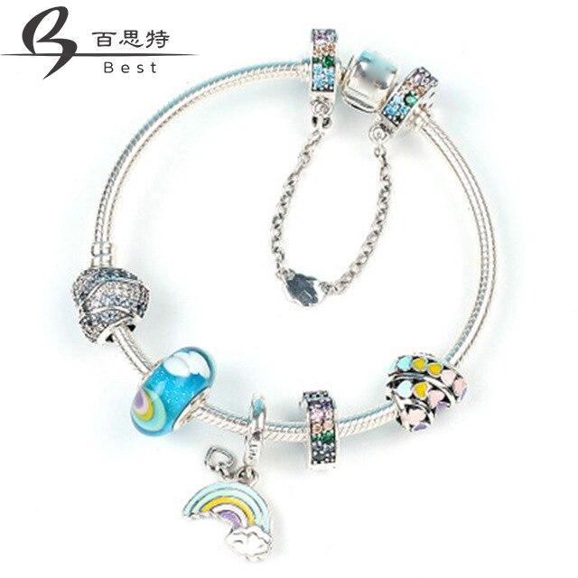 Meilleur 100% 925 en argent Sterling ZT0142 magique rêve néon Bracelet chaîne ornements cadeau ensemble femmes bijoux