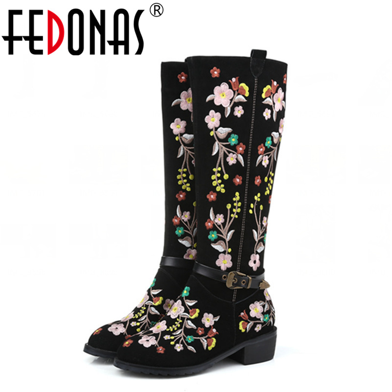 FEDONAS New Fashion Embroider Knee High Boots Sexy Genuine Leather Snow Boots High-heeled Winter Warm Motocycle Boot Shoes Woman fedonas top quality winter ankle boots women platform high heels genuine leather shoes woman warm plush snow motorcycle boots