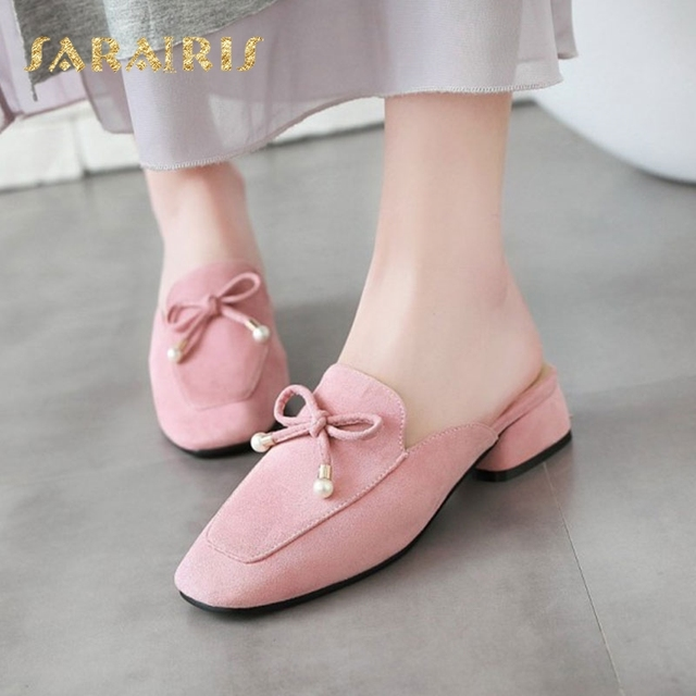 Sarairis Designer Cute butterfly-knot Chunky Heels Slip On Summer Casual  Mule Shoes Woman Pump 4183f9d1874e