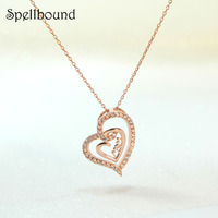 Spellbound New Fashion Ladies Rose Gold Gold Elegant Romantic Heart Letter Pendant Necklaces Chains Gifts For