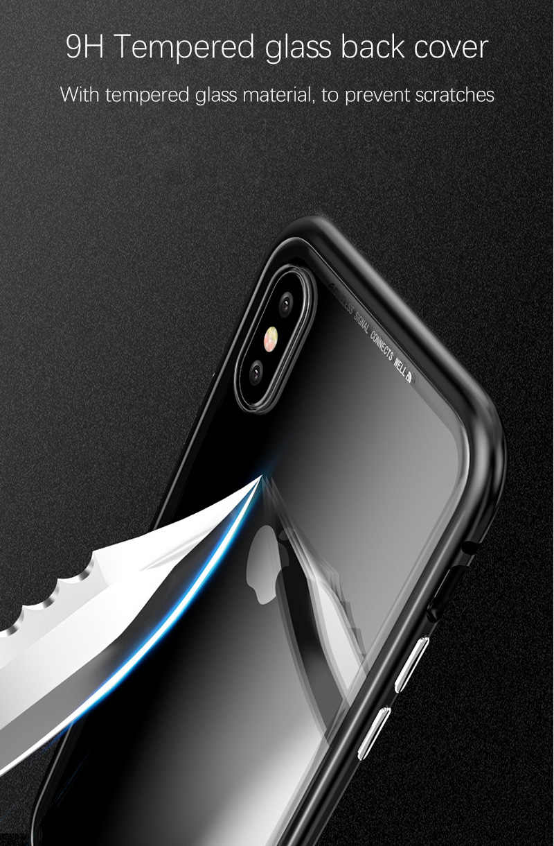 0ba7acb5cbe ... Magnetic Adsorption Flip Case for iPhone X 8 Plus 7 6 6S Plus Tempered  Glass Back ...