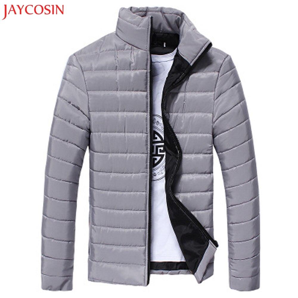 1PC M-3XL Men   Coat   Winter Autumn Warm Cotton Stand Collar Slim Zip Solid   Coat   Outwear Jacket Broadcloth Plus Size z1105