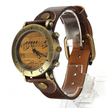 Vogue Classic Piano Quartz Girls Leather-based Steel Wrist Watch Brown