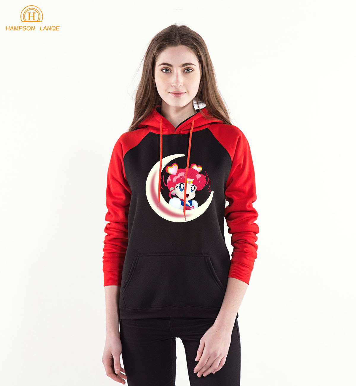 HAMPSON LANQE  Sailor Moon Spring Autumn Anime Hoodies 2019 Harajuku Sweatshirts Women's Raglan Hoodie Warm Fleece Tracksuit