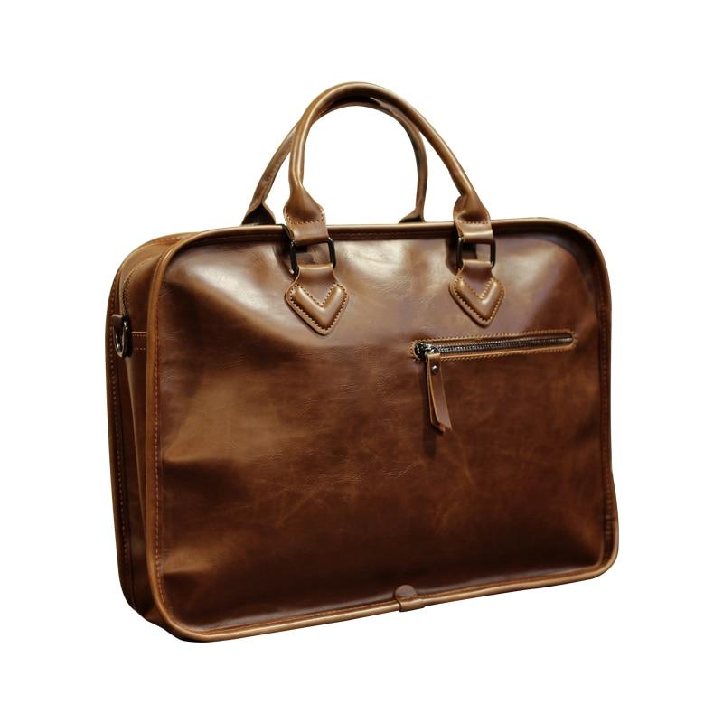 Image 5 - Brand Crazy Horse PU Leather Men Briefcase Vintage 13 inch Big  Business Laptop Handbag Fashion Brown Messenger Shoulder Bag  ManBriefcases