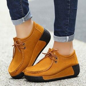 Image 3 - Kobiety płaskie buty ze skóry naturalnej platformy mokasyny kobieta pnącza zasznurować mokasyny do jazdy kobiet przypadkowi buty Sapato Feminino 2020