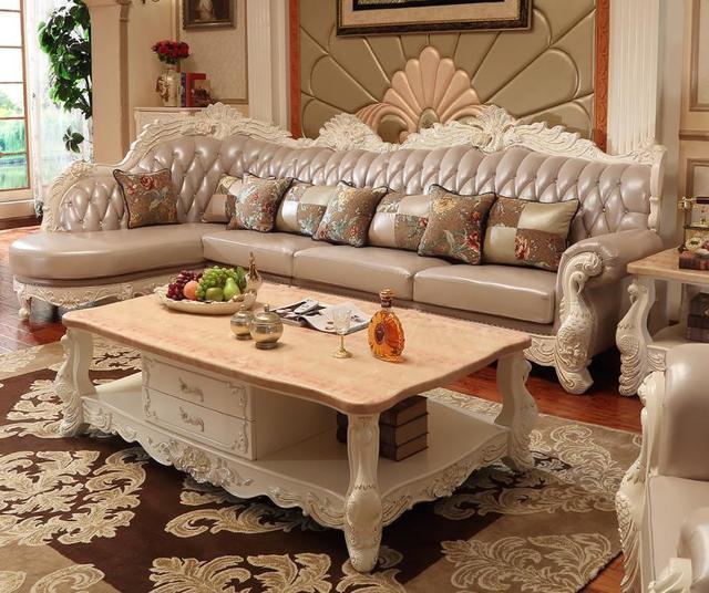 European Style Fabric Sectional Corner Sofa Set Living Room