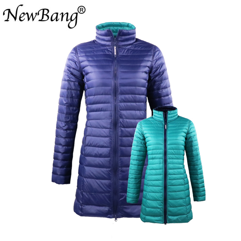 NewBang Brand 4XL Long   Down     Coats   Women Hooded Ultra Light   Down   Jacket With Carry Bag Travel Double Side Reversible Jacket