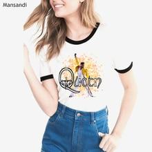 Freddie Mercury tshirt The Queen Band  Dragon Crown T Shirt Women Hip Hop Retro Rock Hipster vague casual Female t-shirt