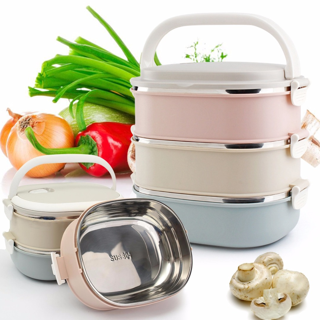 Food Container Food Warmer lunchbox Bento High Quality Portable 3 Tier Bento Lunch Box Stainless Steel Insulated Thermal Food